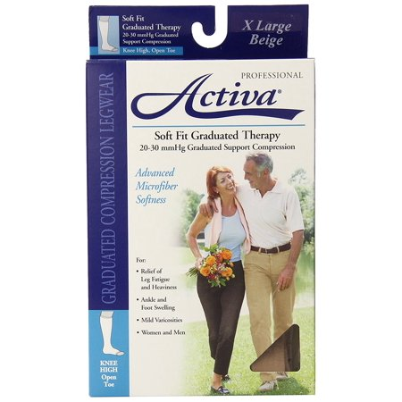 Soft Fit 20-30 mmHg Knee High with Open Toe Stockings, Beige, X-Large, Activa women's microfiber dress By Activa From USA