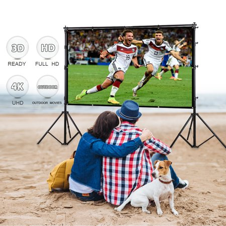 Excelvan 100 Inch 16:9 Collapsible White Portable Projector Cloth Screen With Hanging Hole For Home And Outdoor Use ()
