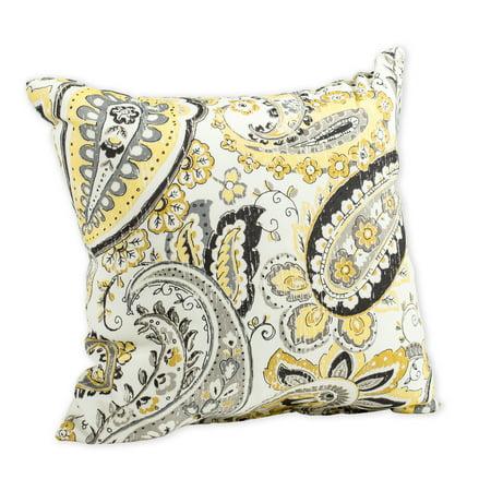 Hadia Goldmine Paisley Grey and Yellow Print 16 x 16 Indoor Outdoor Throw Pillow Paisley Outdoor Throw Pillows