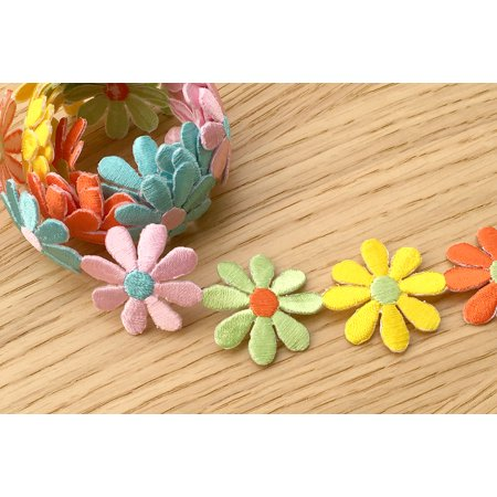 "1.25""  Daisy yellow pink light green Orange Light Blue Iron on Embroidered Trim"