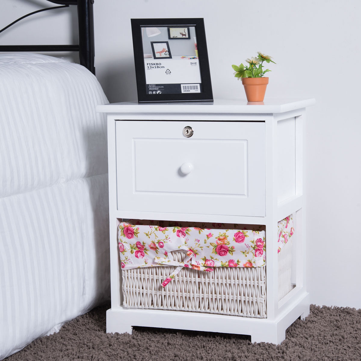 Gymax 2PCS 2 Tiers Wood Nightstand1 Drawer Bedside End Table Organizer W/Basket White - image 4 of 8