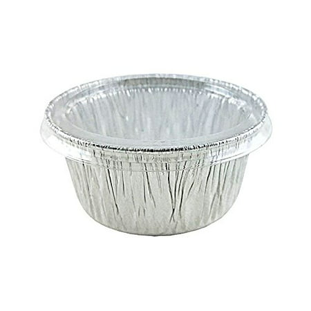 Handi-Foil 4 oz Aluminum Muffin Cupcake Ramekin Cup w/Clear Lid Disposable Tins (pack of (Muffin Dish Lid)