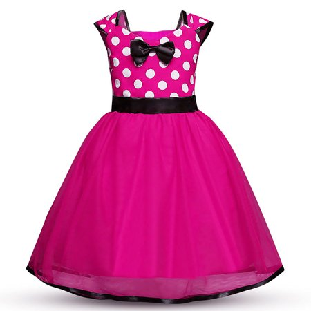 Toddler Girl Minnie Mouse Halloween Costume (Minnie Mouse Dress Girls' Polka Dots Princess Party Cosplay Pageant Fancy Costume Tutu Dress)