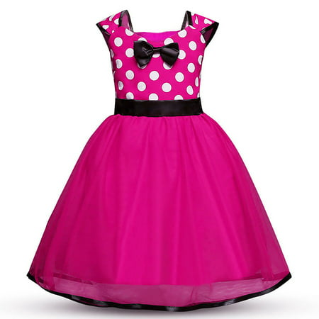 Red Cheerleader Costume (Minnie Mouse Dress Girls' Polka Dots Princess Party Cosplay Pageant Fancy Costume Tutu Dress)