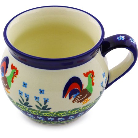 Polish Pottery 11 oz Bubble Mug (Country Rooster Theme) Signature UNIKAT Hand Painted in Boleslawiec, Poland + Certificate of Authenticity