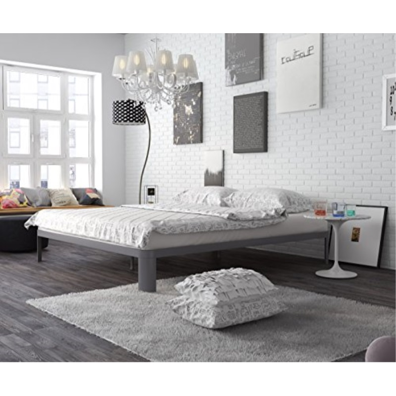 In Style Furnishings Contemporary Low Profile Lunar Platform Bed with Metal Frame & Strong Slats - Queen Size Bed Frame, Grey