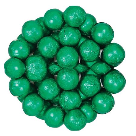 Wrapped Chocolate Balls - Dark Green Foil Wrapped Milk Chocolate Balls, (10 Pounds)