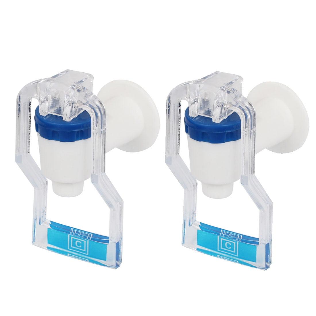 Unique Bargains Plastic Replacement Home Push Type Water Dispenser Tap Faucet Blue Clear 2Pcs
