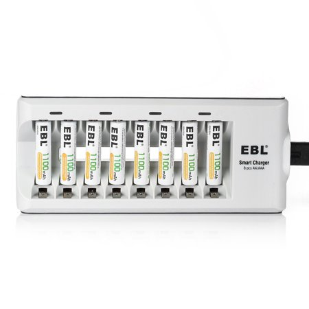 EBL 8-Pack AAA 1100mAh Rechargeable Batteries + 8 Bay 808 AA AAA Battery Charger