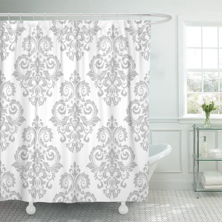 PKNMT The of Baroque Gray and White Floral Graphic Polyester Shower Curtain 60x72 inches