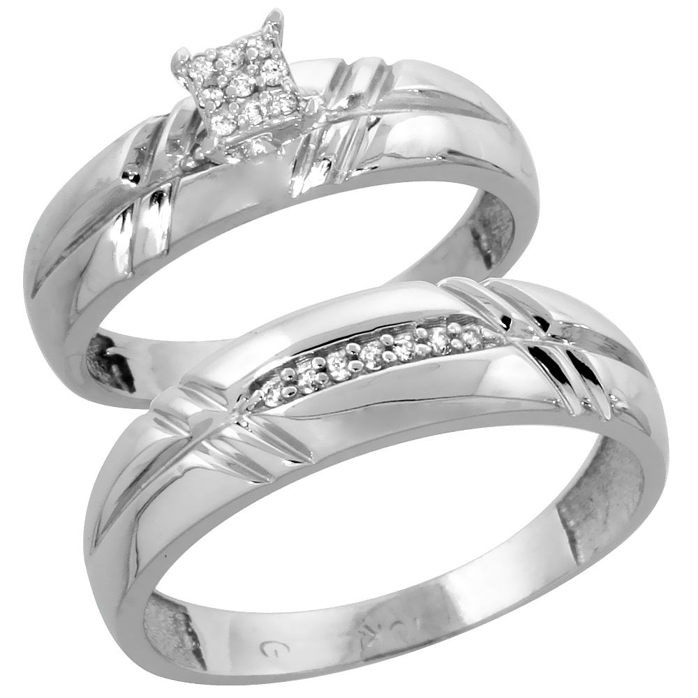 10k White Gold Diamond Engagement Rings Set for Men and Women 2-Piece 0.10 cttw Brilliant Cut, 5.5mm & 6mm wide by WorldJewels