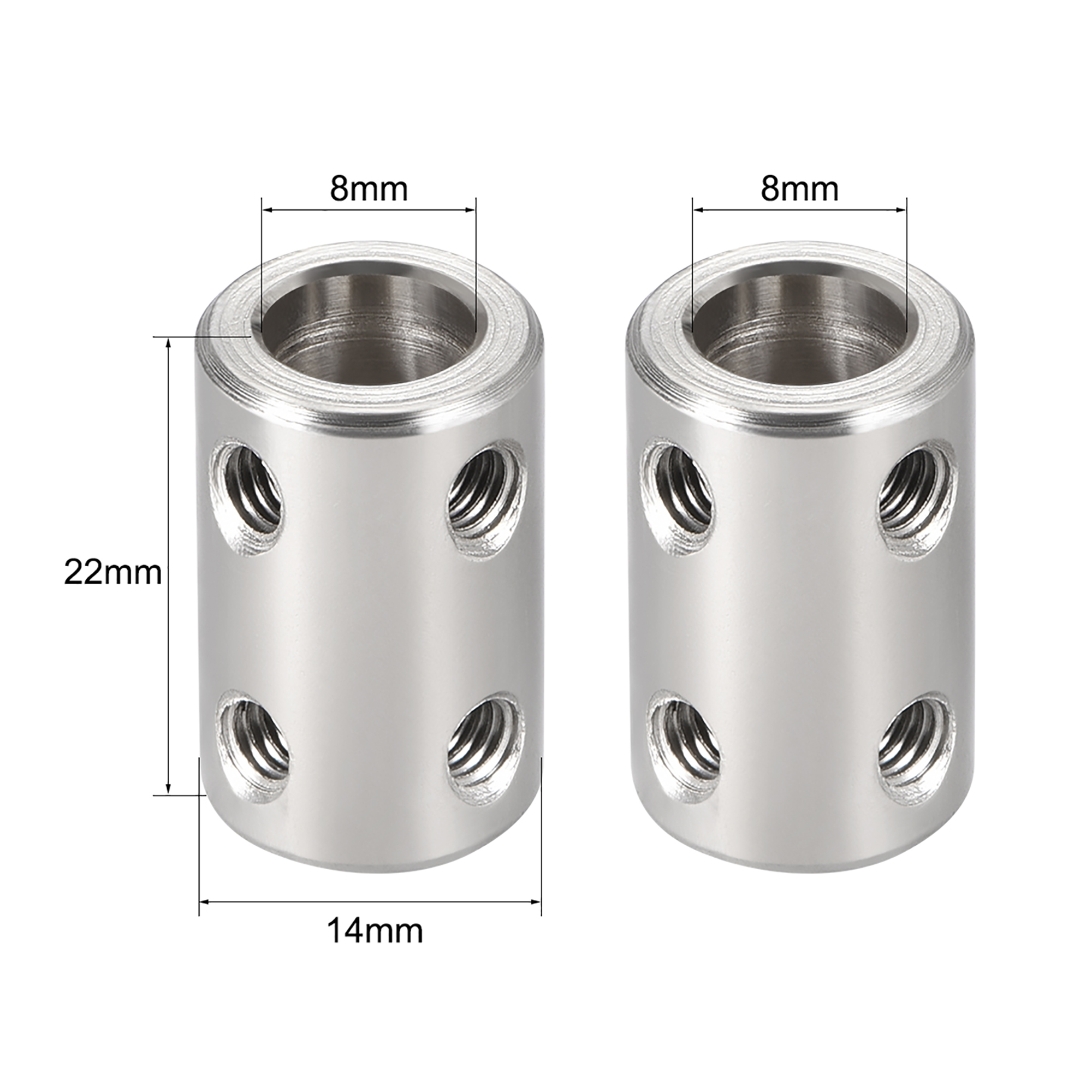 Shaft Coupling 8mm to 8mm Bore L22xD14 Robot Motor Wheel Rigid Coupler Connector Silver Tone - image 1 of 3