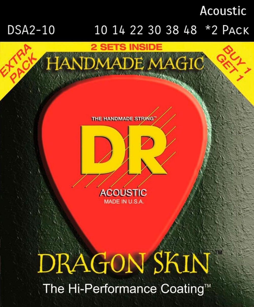 DR Strings Dragon Skin Clear Coated Phosphor Bronze Light Acoustic Guitar Strings (10-48)... by DR Strings