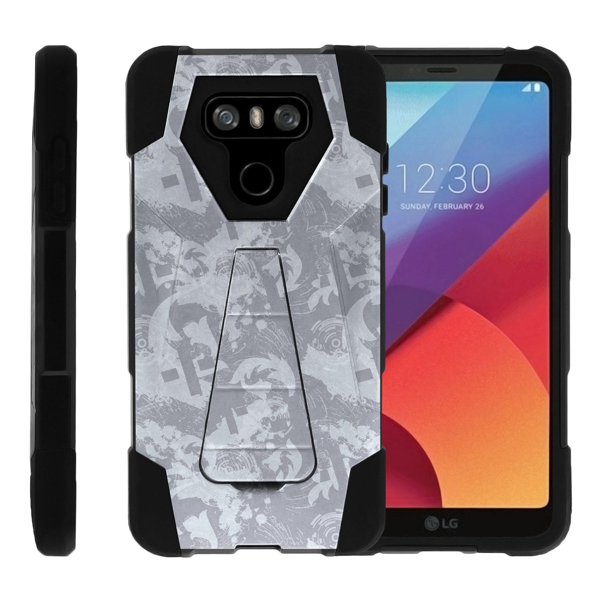 TurtleArmor ® | For LG G6 | LG G6+ (Plus) [Dynamic Shell] Dual Layer Hybrid Silicone Hard Shell Kickstand Case - Light Blue Gray