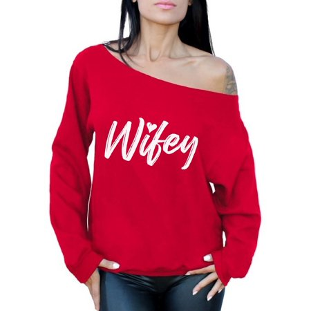 Awkward Styles Off Shoulder Wifey Sweatshirt Women's Wifey Sweater Oversized Cute Valentine's Day Gifts for Wife Matching Couple Sweaters Valentine's Day Jumper for Women Valentine Off Shoulder Top - Couples Christmas Sweaters