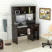 Inval Laminate Office Desk and Work Center w/Hutch, Espresso-wengue