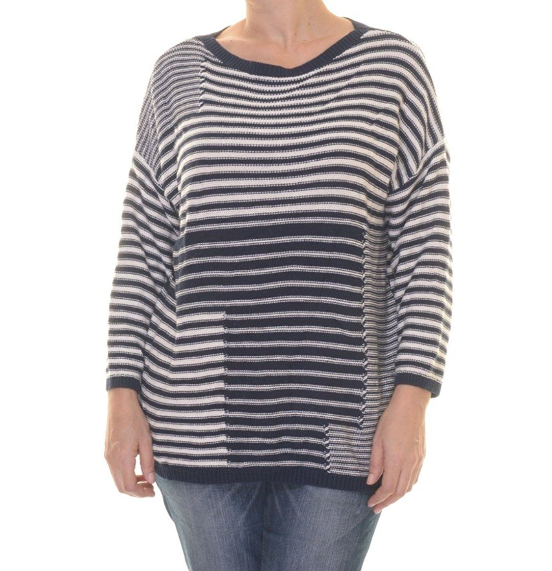 American Living Striped Printed Three Quarter Sleeve Sweater