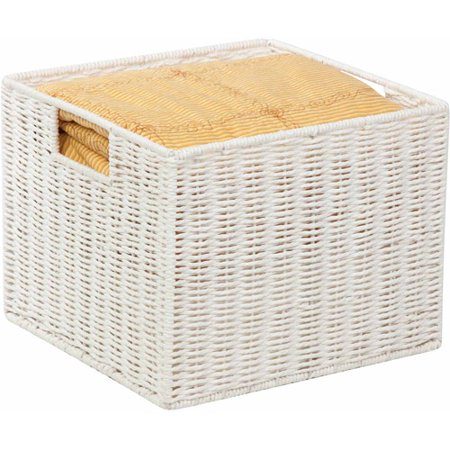 Honey Can Do Parchment Cord Basket with Wire Frame and Handles, White ()