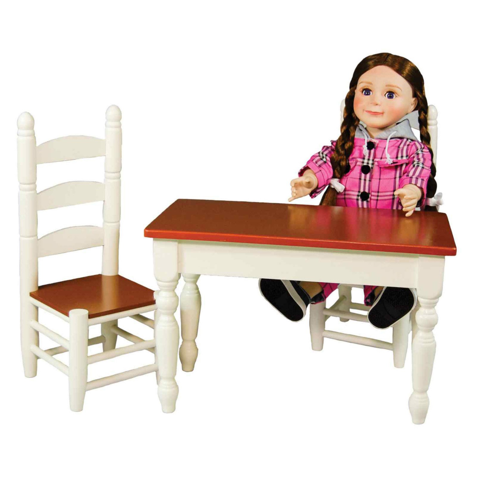 18 Inch Doll Furniture, Off White Wooden Farmhouse Kitchen Table And Two Chairs by Supplier Generic
