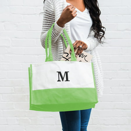 Personalized Weddingstar Colorblock Tote Bag with Initial Personalized Petite Tote Bag