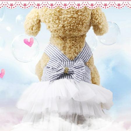 Cute Striped Princess Dress Lace Bowknot Tutu Skirt for Teddy Poodle Bichon Summer Wear Color:Pink Size:M - image 1 de 8