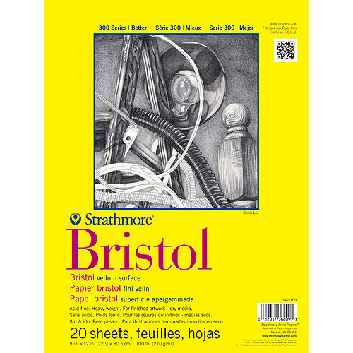 "Strathmore Bristol Vellum Paper Pad,9"" x 12"", 20 Sheets"