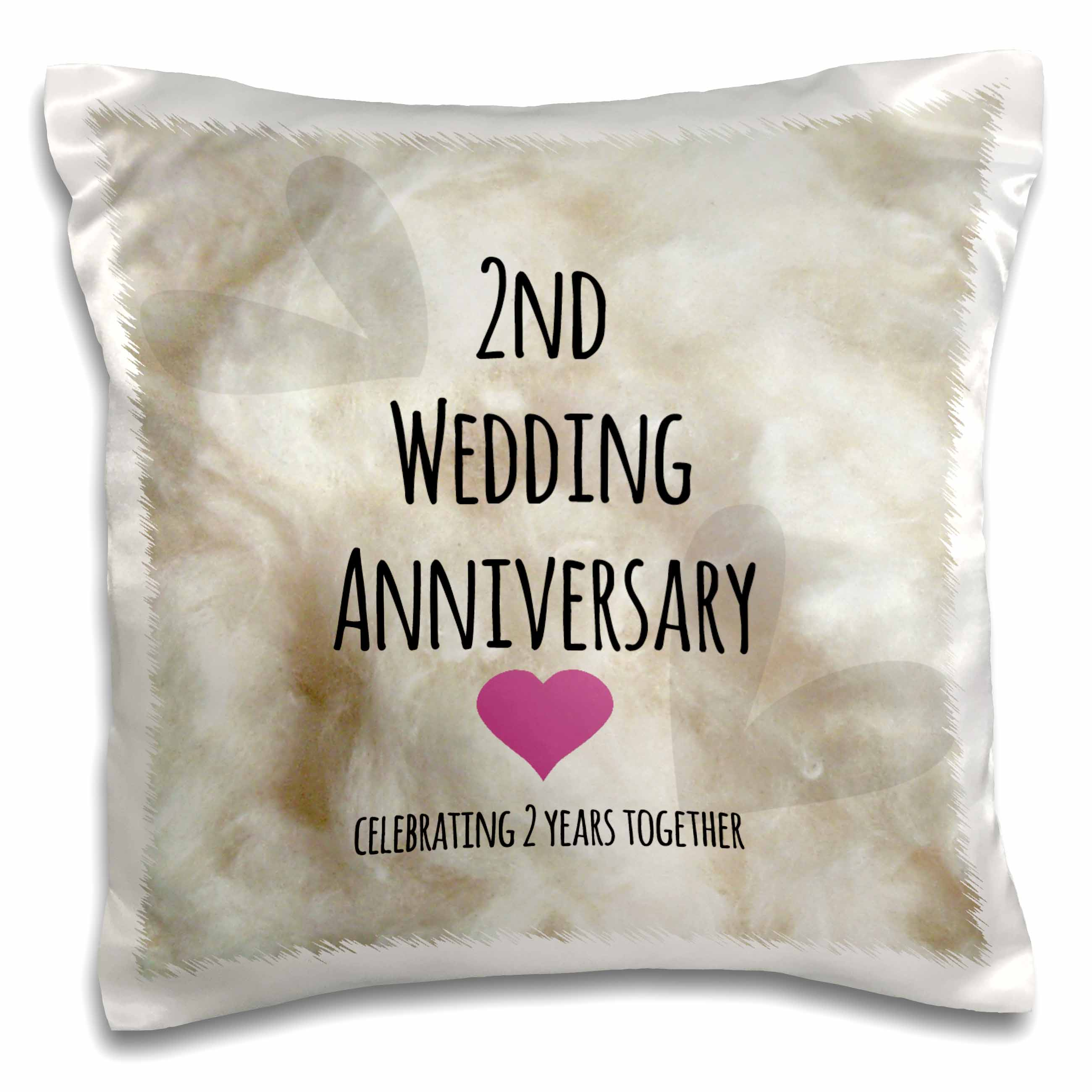 2 Year Wedding Anniversary Gift.3drose 2nd Wedding Anniversary Gift Cotton Celebrating 2 Years Together Second Anniversaries Two Yrs Pillow Case 16 By 16 Inch
