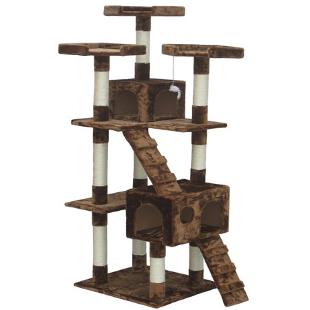 72 Inch Brown Cat Tree Lounge Tower Kitty Condo with Scratching (72 Inch Lounger)