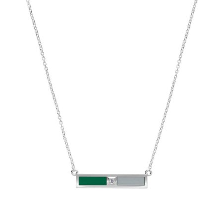 Babson College - Diamond Bar Necklace in Green and Grey ()