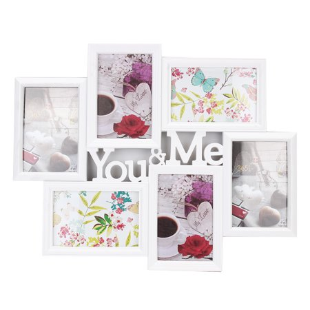 Meigar 6 Openings White Decroative Collage You & ME Couples Picture Frame Christmas Gift Made to Display Five 4x6
