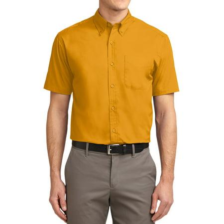 Mafoose Men's Short Sleeve Easy Care Shirt Athletic Gold/ Light Stone (Easy Care Linen Shirt)