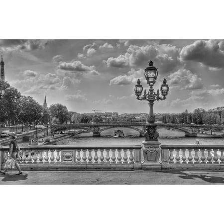 LAMINATED POSTER Paris Lantern France Black And White Bridge Poster Print 24 x