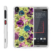 HTC Desire 530 | Desire 630, [SNAP SHELL][White] Hard White Plastic Case with Non Slip Matte Coating with Custom Designs - Yellow Purple Flowers