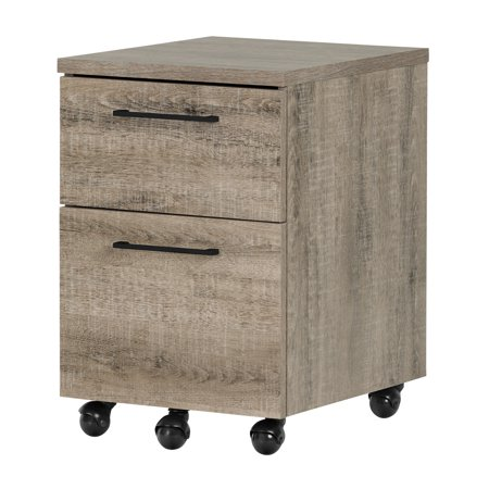 South Shore Munich 2-Drawer Mobile File Cabinet, Weathered (Rolling Oaks Stores)