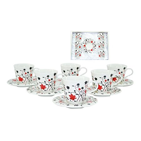 Beautiful Red And Black Flower Vines Earthenware Tea Coffee Cups & Saucers For 6 Guests