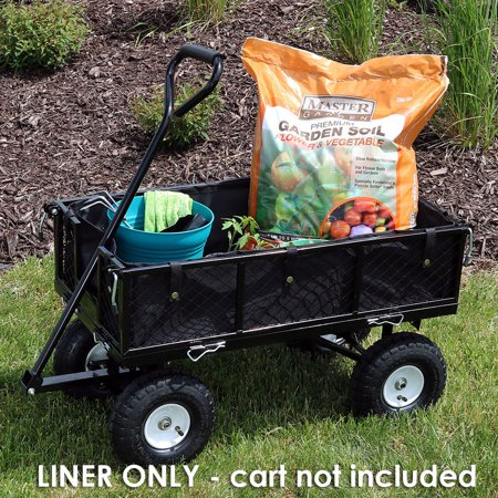 Sunnydaze Liner for Garden Utility Cart, Heavy-Duty Polyester, Black, Liner ONLY (Tool Cart Liner)