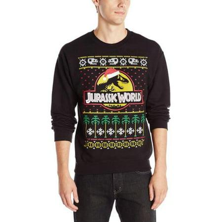 Jurassic World Ugly Christmas Sweater Mens Crew Neck Graphic Sweatshirt