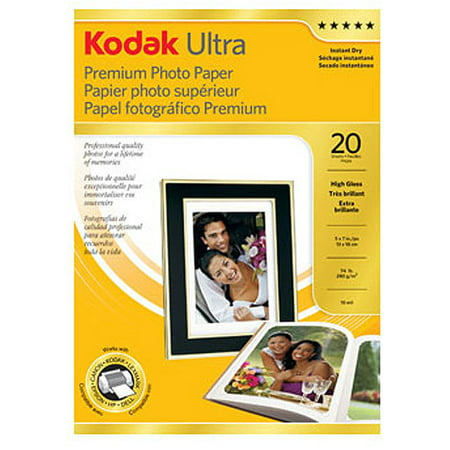 "Kodak Ultra Premium High Gloss 5"" x 7"" Photo Paper, 20 Sheets"