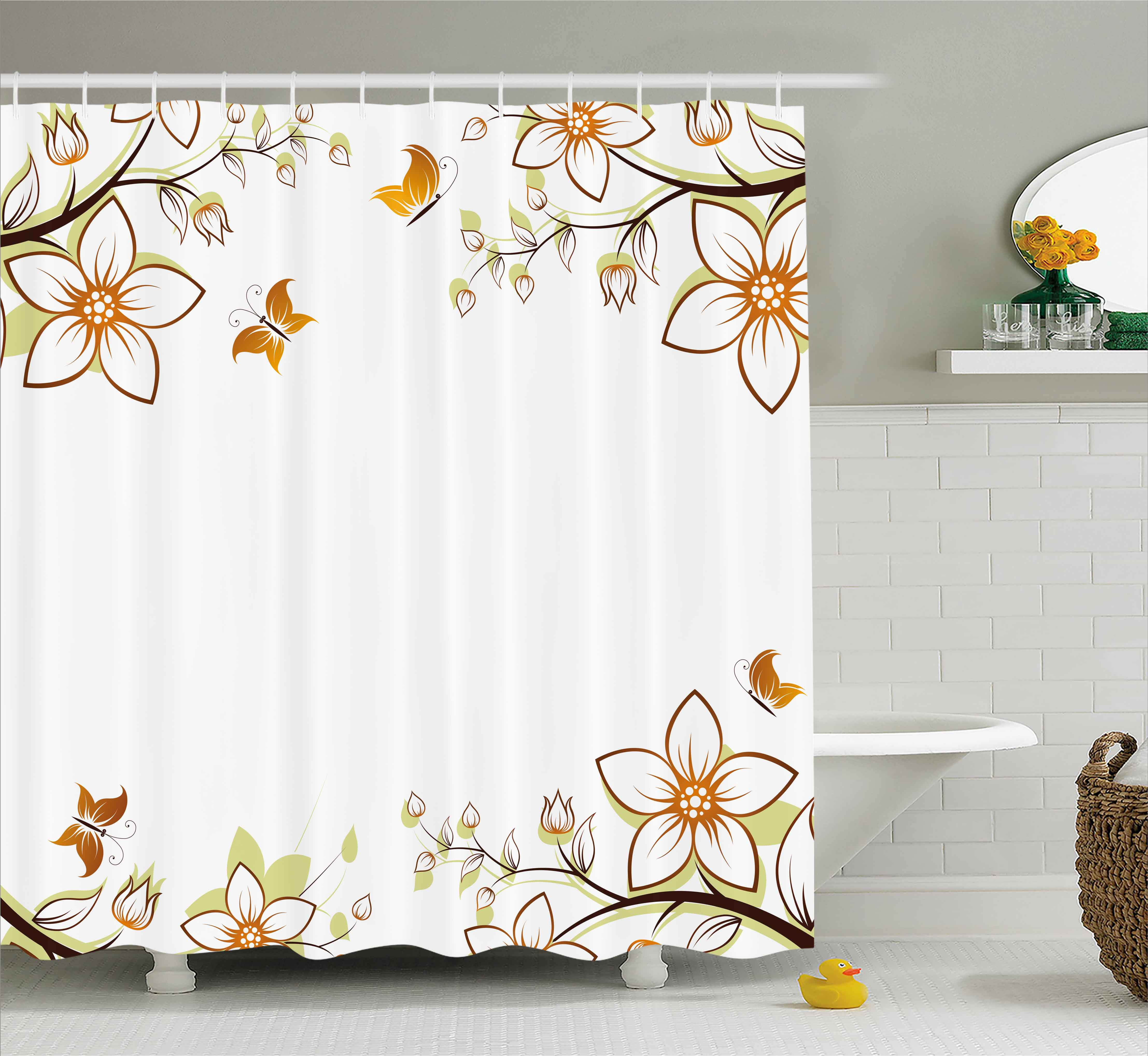 Floral Shower Curtain, Flowers Leaves Branches Buds Butterflies Frame Like  Image Print, Fabric Bathroom