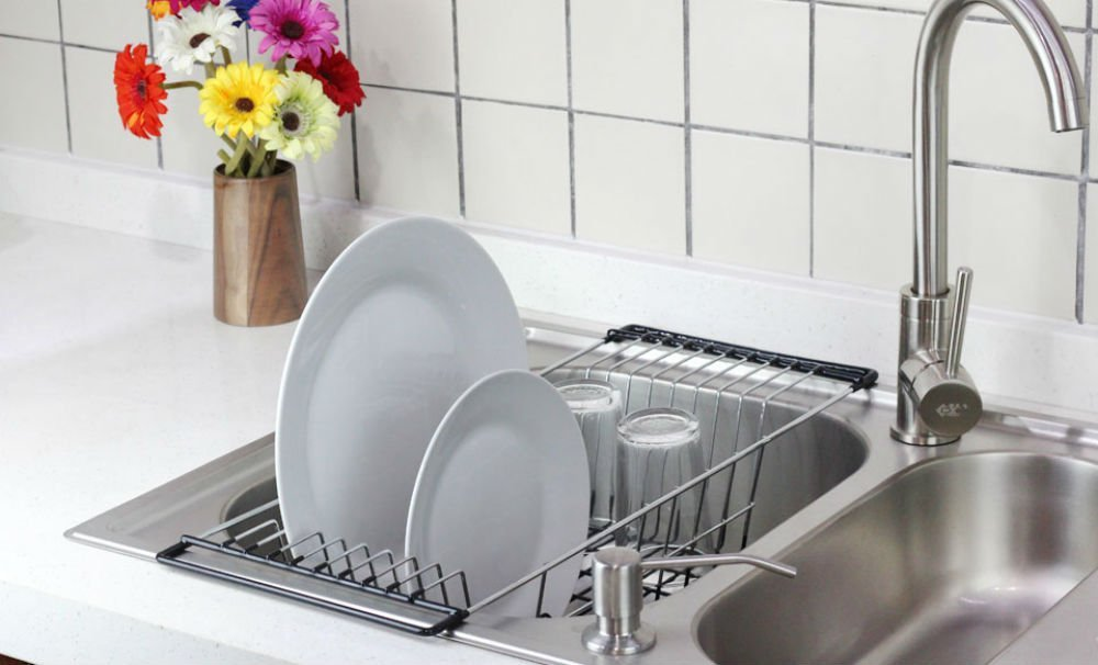 Superieur Neat O Over The Sink Kitchen Dish Drainer Rack, Durable Chrome Plated Steel
