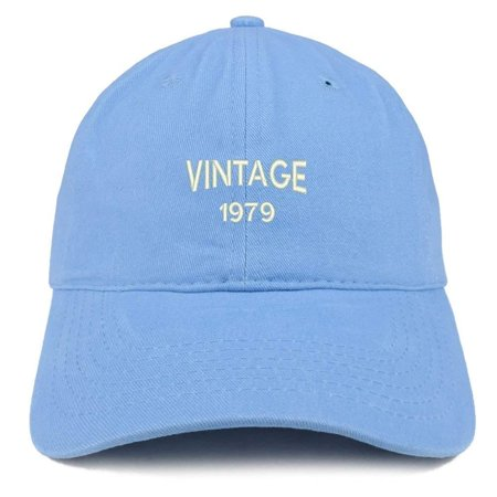 Trendy Apparel Shop Small Vintage 1979 Embroidered 39th Birthday Adjustable Cotton Cap - Purple