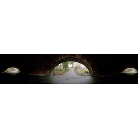 360 degree view of a tunnel in an urban park Central Park Manhattan New York City New York State USA Canvas Art - Panoramic Images (22 x 5) - Halloween Event Central Park