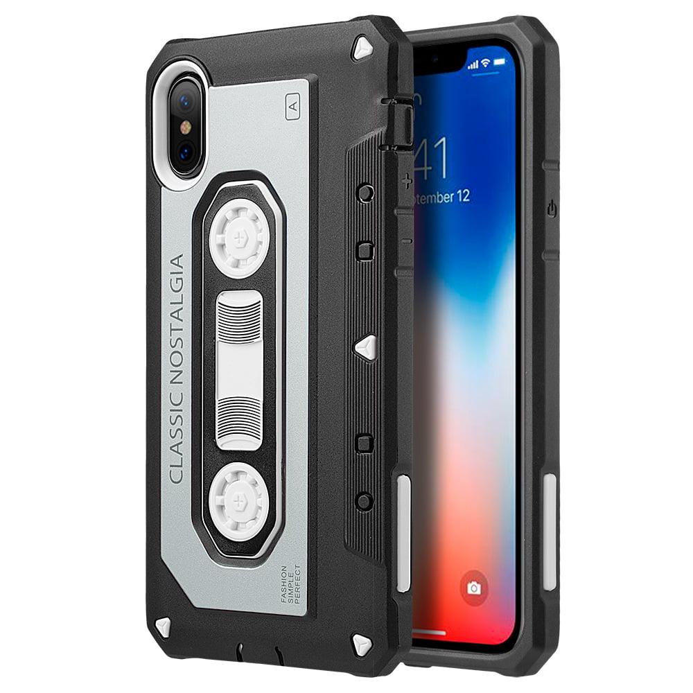 MUNDAZE Grey Classic Cassette Tape Dual Shock Case For Apple iPhone X Phone