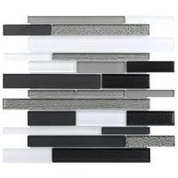 MTO0013 Modern Linear Silver Black Gray White Glossy Glass Mosaic Tile