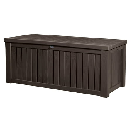Keter Rockwood Outdoor Plastic Deck Box, All-Weather Resin Storage, 150 Gal, Brown