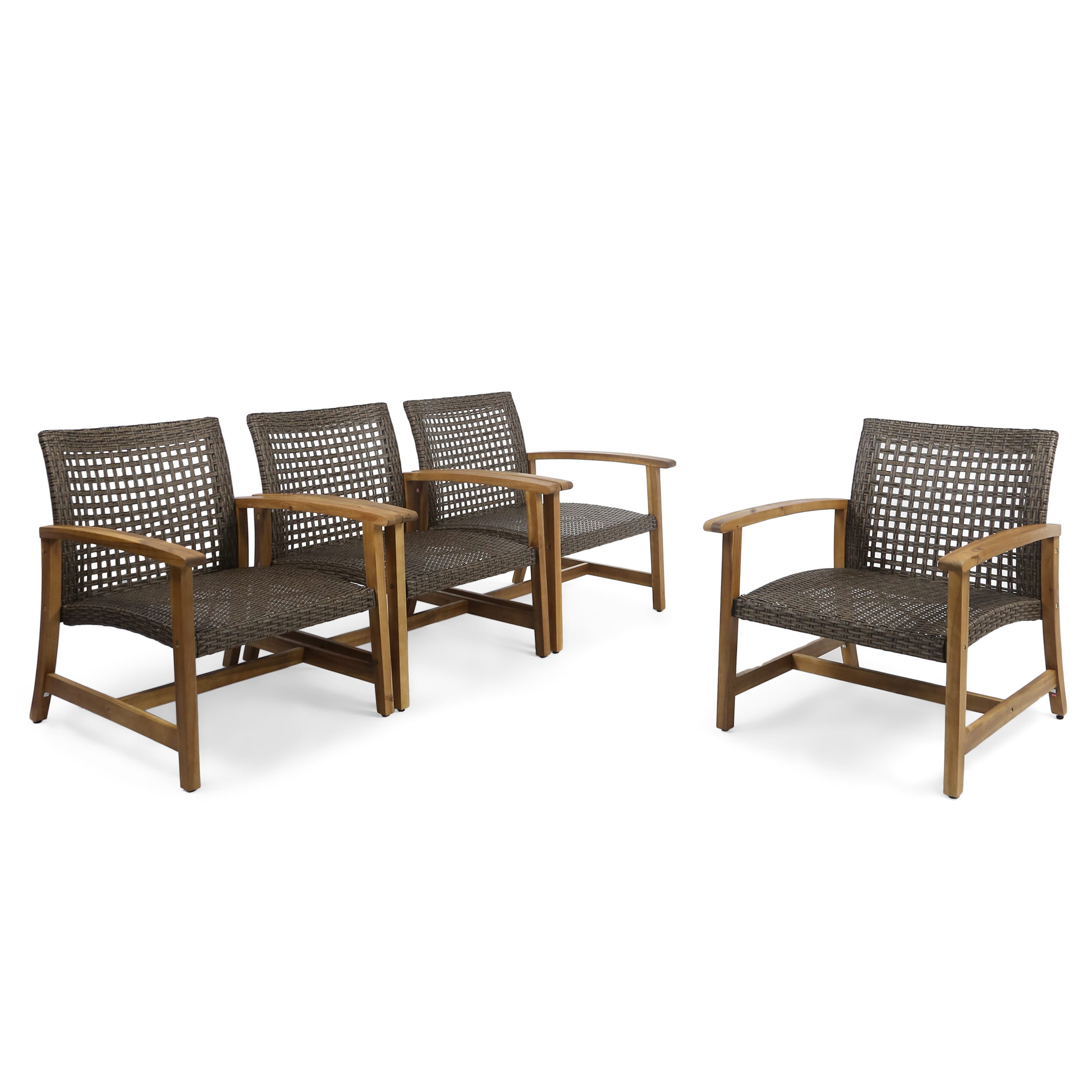 Set Of 4 Brown And Black Hand Crafted Outdoor Patio Club Chairs 32 75 Walmart Com Walmart Com