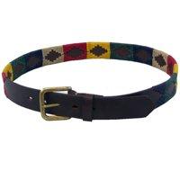 World of Warcraft ASMR30 Unisex Leather Aztec Design Belt, Red - Size 30