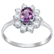 Cocktail 1.7 Ctw Oval, Round Amethyst, Cubic Zirconia 925 Sterling Silver Classy Ring For Women's By Orchid Jewelry