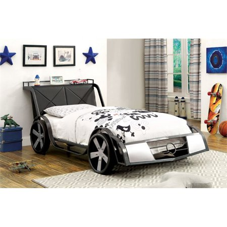 Furniture of America Parham Twin Metal Sports Car Bed in (Little Tikes Sports Car Twin Bed Black)