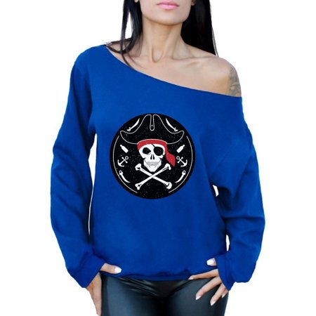 Awkward Styles Jolly Roger Off Shoulder Sweatshirt for Women Pirate Skull Oversized Sweater Pirate Skull Flag Outfit Dia de los Muertos Gifts for Her Day of the Dead Sweater Jolly Roger Skull Gifts for $<!---->